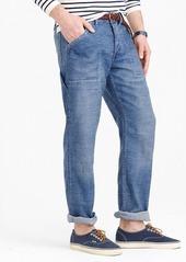 J.Crew Wallace & Barnes slim cotton-linen carpenter jean in river wash