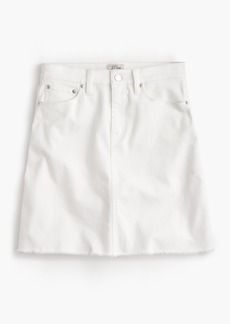 White denim skirt with raw hem