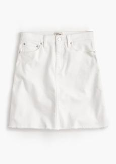 White denim skirt with raw hem