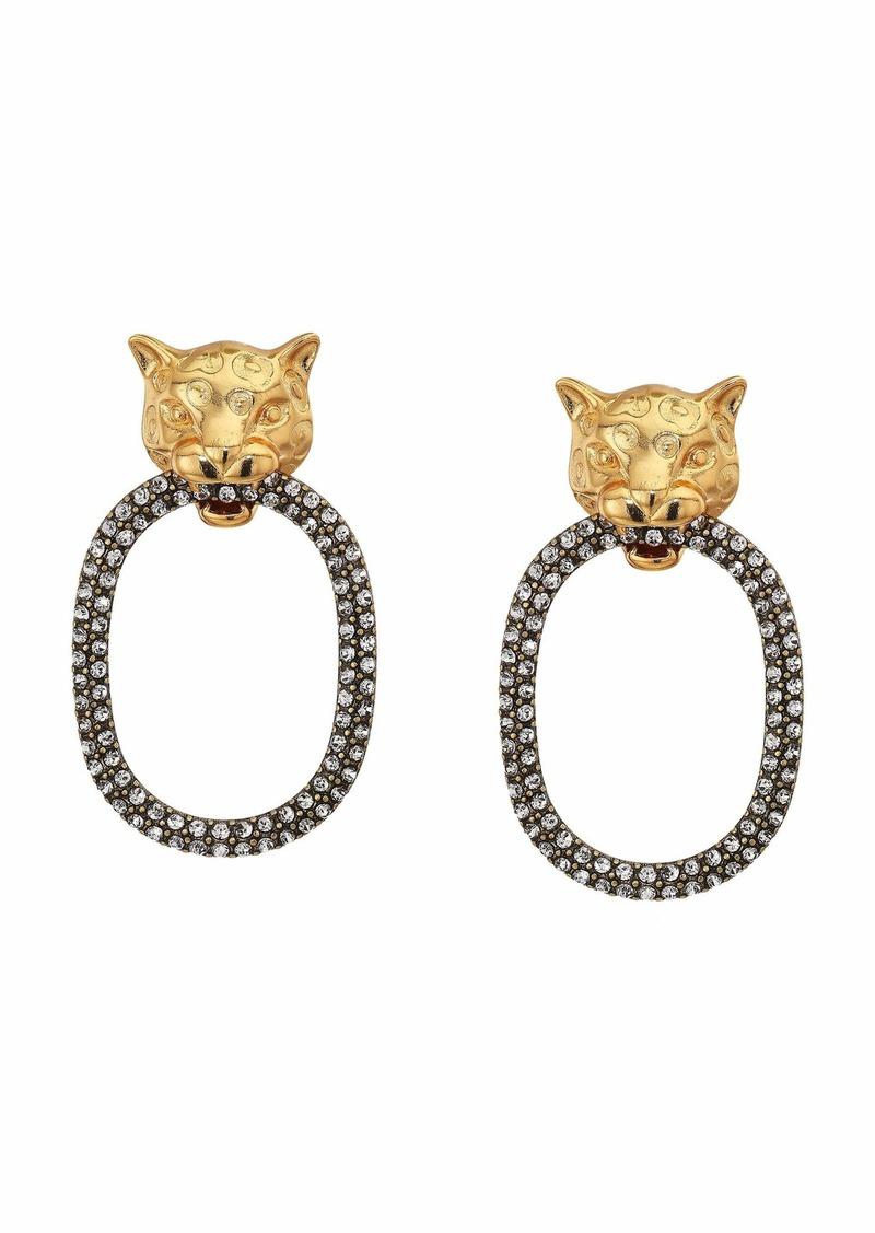J.Crew Wild Leopard Oval Pave Earrings