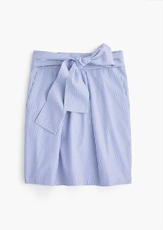 Wrap-around tie skirt in shirting stripes