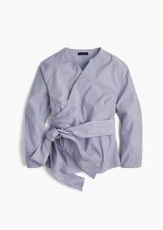 J.Crew Petite wrap top in striped stretch cotton