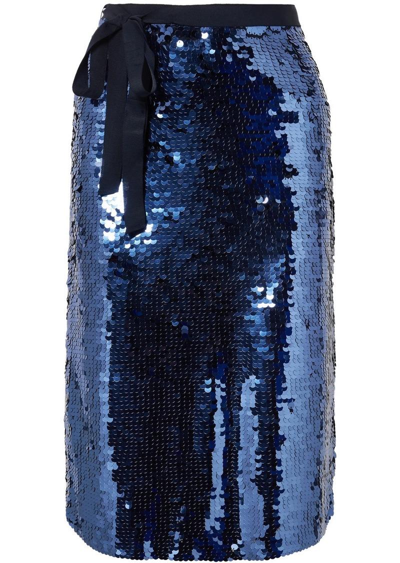 J.Crew Yams Grosgrain-trimmed Sequined Crepe Skirt