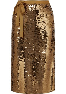 J.Crew Yams Grosgrain-trimmed Sequined Crepe Skirt