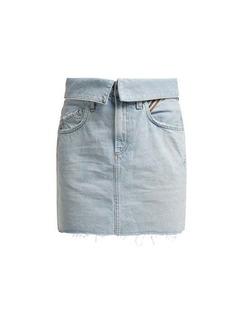 Jean Atelier Flip fold-over denim mini skirt