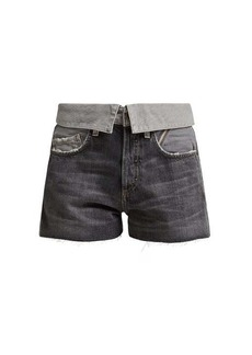 Jean Atelier Flip fold-over denim shorts
