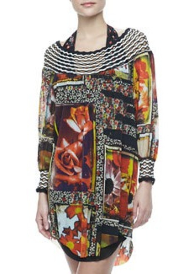 Jean Paul Gaultier Floral-Print Long-Sleeve Coverup, 245 Caracas   Floral-Print Long-Sleeve Coverup, 245 Caracas