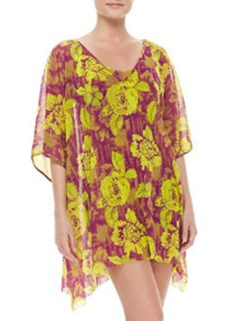 Jean Paul Gaultier Floral-Print Sheer Coverup   Floral-Print Sheer Coverup