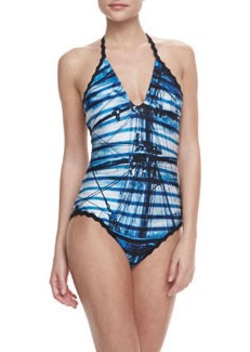 Jean Paul Gaultier Cross Halter One-Piece Swimsuit