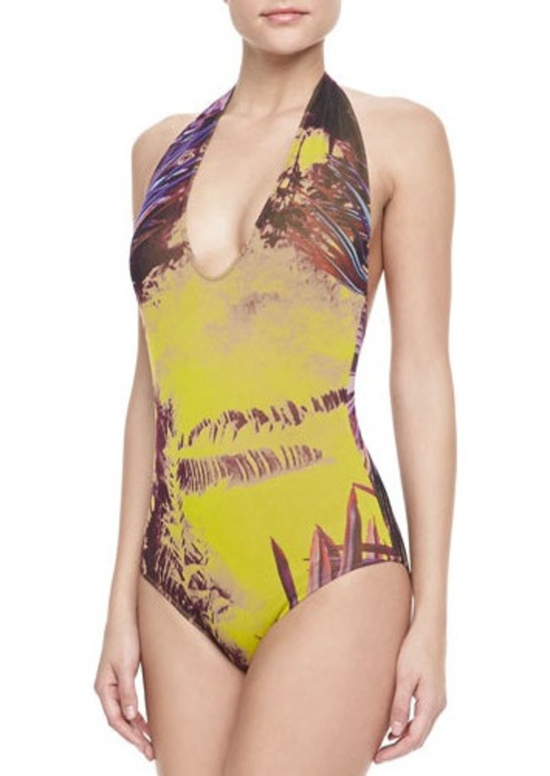 Jean Paul Gaultier Palm Leaf-Print Halter One-Piece Swimsuit, Viola