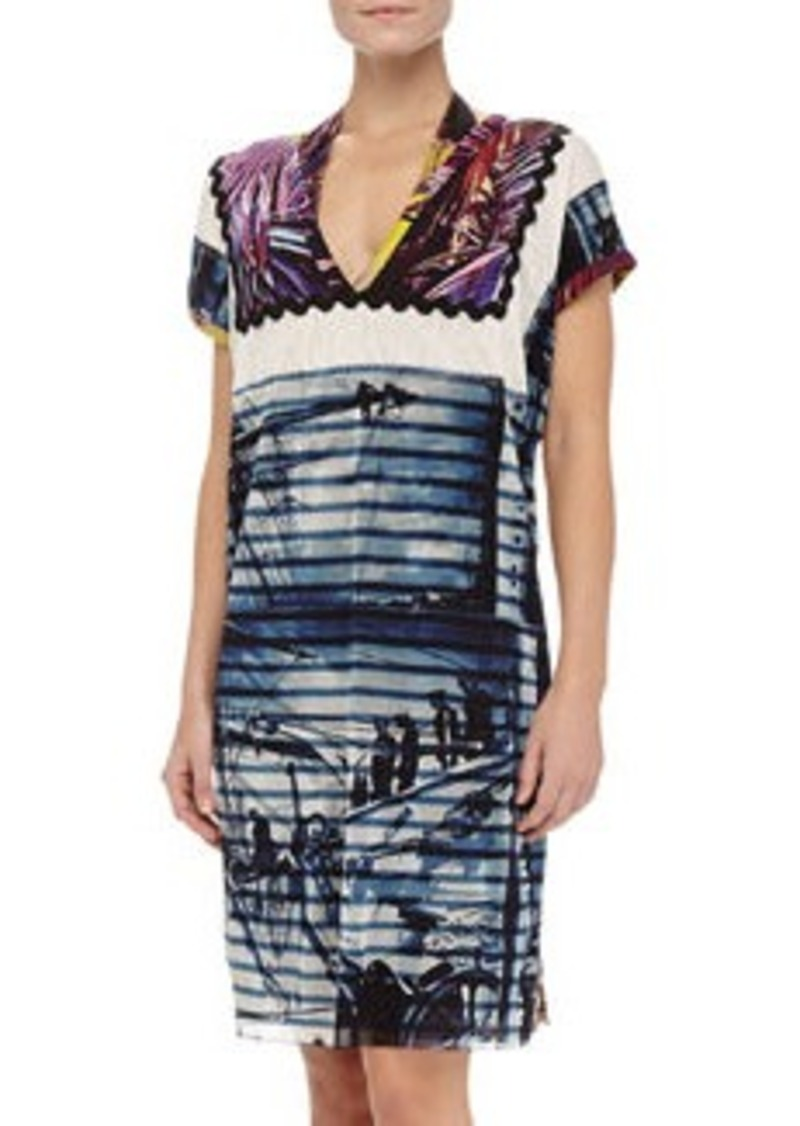 Jean Paul Gaultier Mixed-Print Short-Sleeve Coverup, 668 Marine   Mixed-Print Short-Sleeve Coverup, 668 Marine