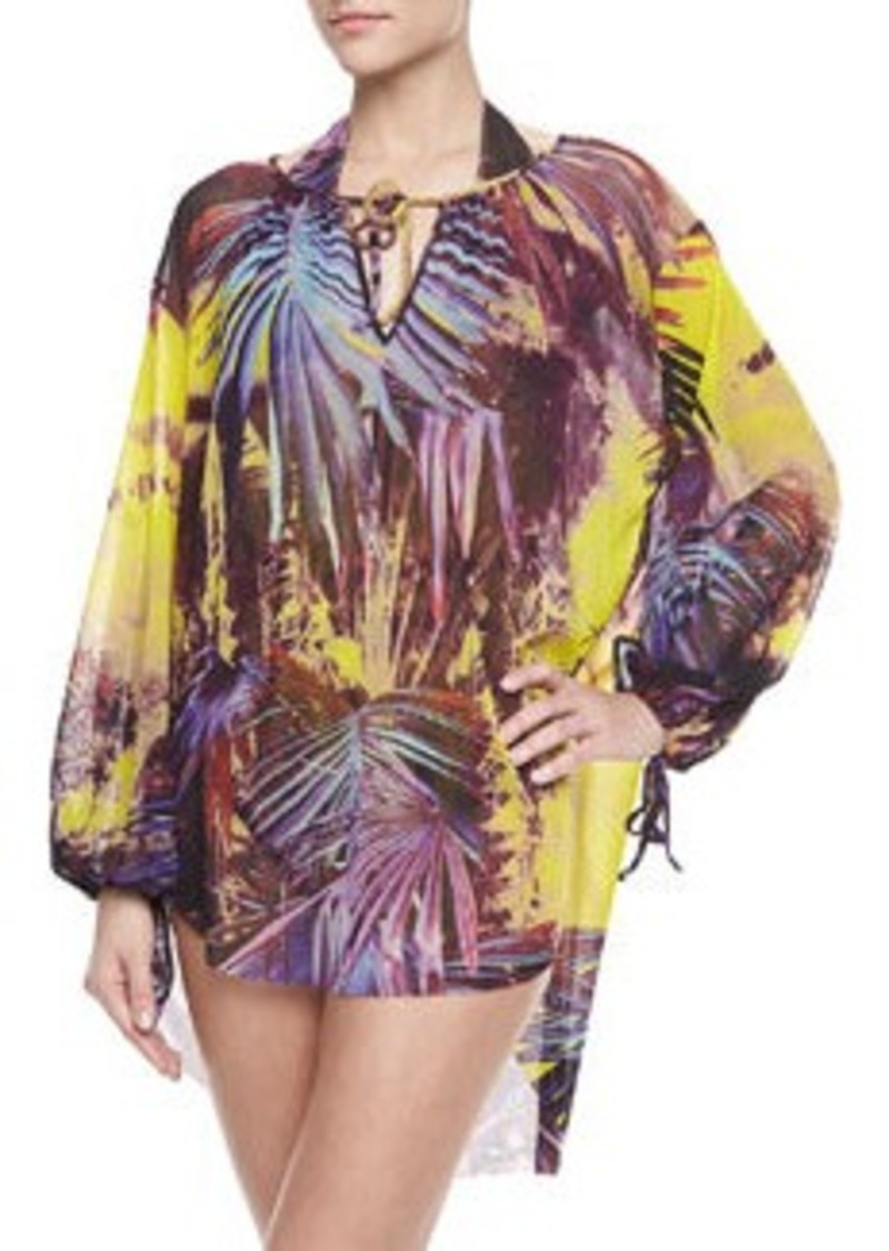 Jean Paul Gaultier Palm Leaf-Print Long-Sleeve Coverup, Viola   Palm Leaf-Print Long-Sleeve Coverup, Viola