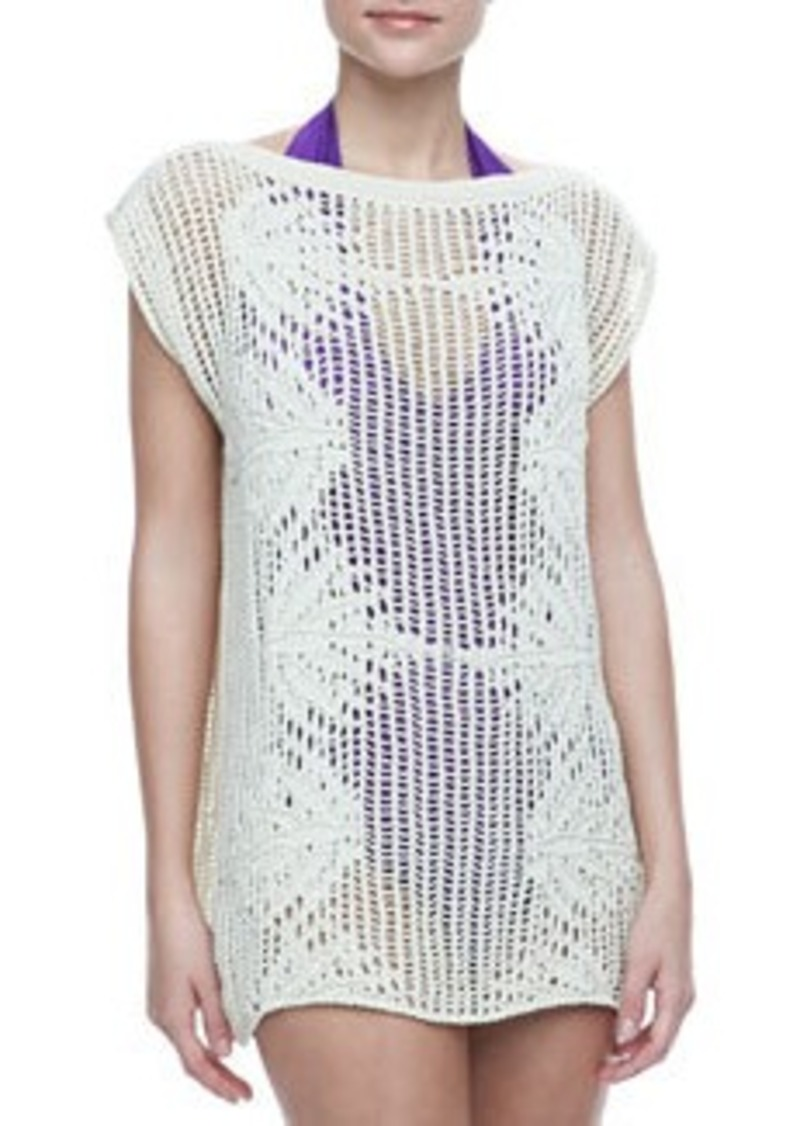 Jean Paul Gaultier Palmier Cotton Crochet Tunic, Cream   Palmier Cotton Crochet Tunic, Cream
