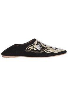 Jeffrey Campbell 10mm Embroidered Suede Flats