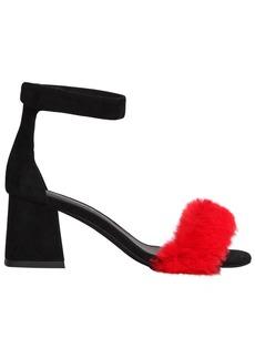 Jeffrey Campbell 60mm Fero Faux Fur & Suede Sandals