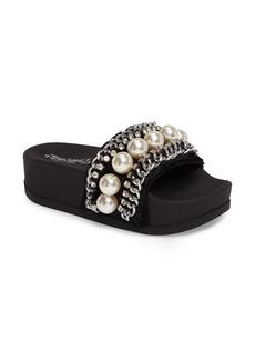 Jeffrey Campbell Edie Embellished Platform Slide Sandal (Women)