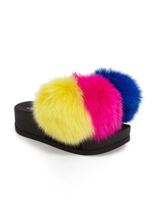 Jeffrey Campbell Edie Pom Faux Fur Slide Wedge (Women)
