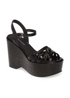 Jeffrey Campbell Elenna Croc Embossed Platform Wedge Sandal (Women)