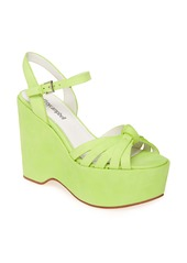 Jeffrey Campbell Elenna Croc Embossed Platform Wedge Sandal (Women)