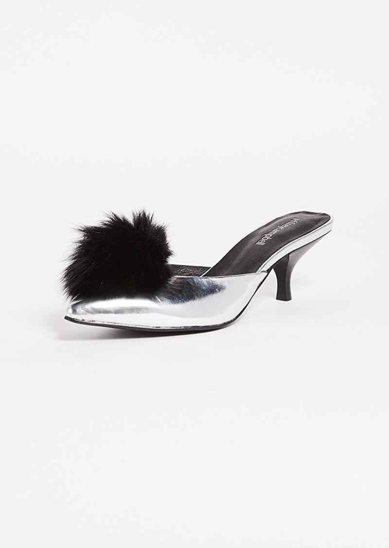 Jeffrey Campbell Jena2 Point Toe Pom Mules Shoes High Heel Slides With Pompoms
