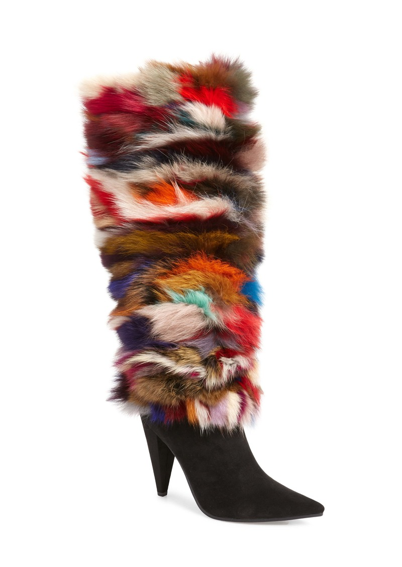 Jeffrey Campbell Maze Genuine Rabbit Fur Knee High Boot (Women) (Wide Calf)