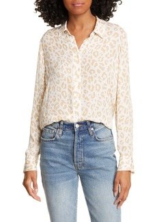 Jenni Kayne Leopard Print Silk Button-Up Shirt