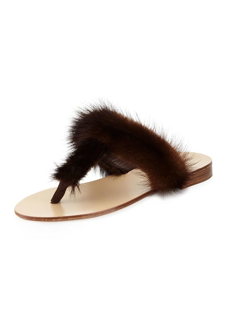 c3115eca00c Jenni Kayne T-Strap Fur Flat Slide Sandal