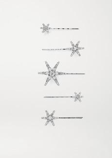 Jennifer Behr Vespera Set Of Five Crystal-embellished Silver-tone Hair Slides