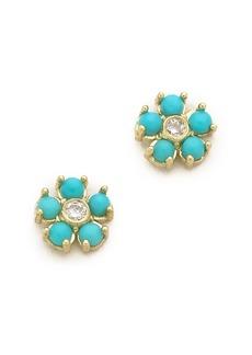 Jennifer Meyer Jewelry Turquoise Flower Diamond Stud Earrings