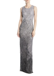 Jenny Packham Alina Sleeveless Round-Neck Degradé Beaded Evening Gown