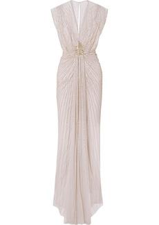 Jenny Packham Amelie Draped Embellished Tulle Gown