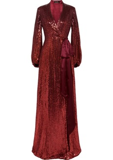 Jenny Packham Aries Satin-trimmed Sequined Silk-chiffon Wrap Gown