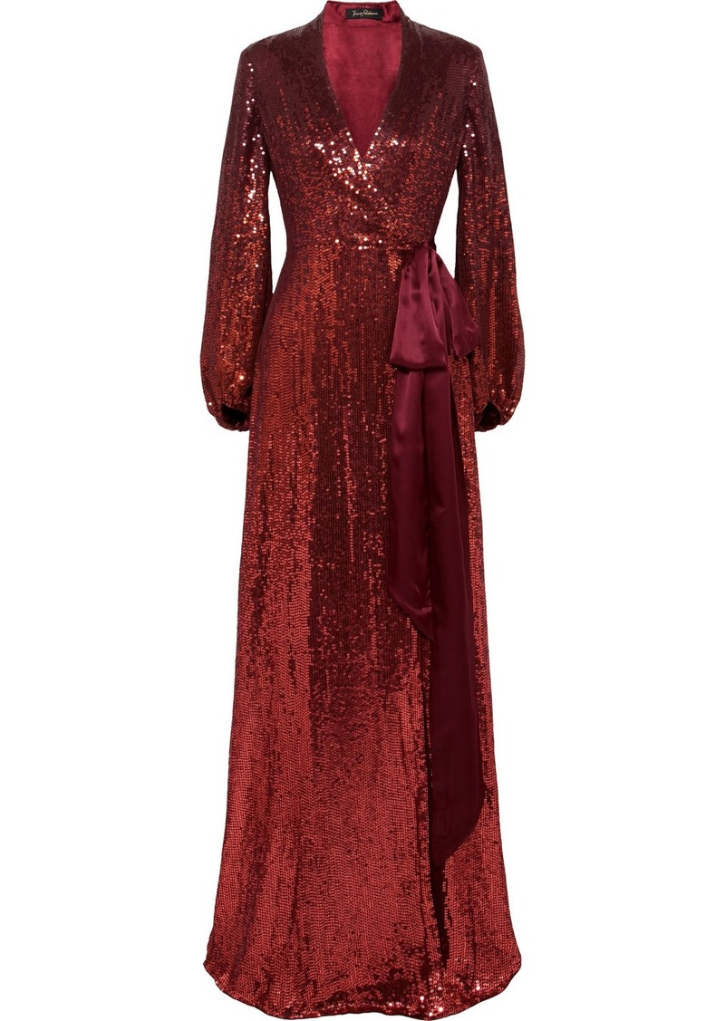 4440b52eb113 Jenny Packham Aries Satin-trimmed Sequined Silk-chiffon Wrap Gown ...