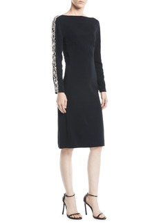 Jenny Packham Astra Boat-Neck Beaded-Stripe Long-Sleeve Crepe Cocktail Dress