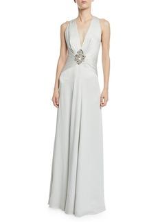 Jenny Packham Bali V-Neck Embellished Wrapped Satin Gown