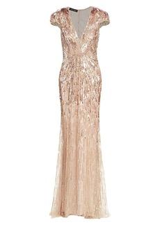 Jenny Packham Beaded Sequin Cap-Sleeve Gown