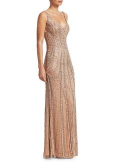 Jenny Packham Beaded Tulle Sleeveless Gown