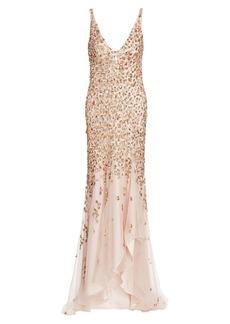 Jenny Packham Beaded V-Neck High-Low Gown