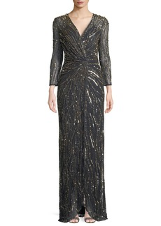 Jenny Packham Bracelet-Sleeve V-Neck Column Sequin Evening Gown