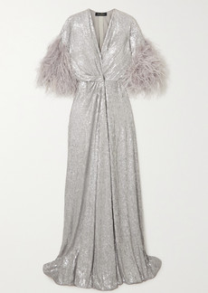 Jenny Packham Camelot Feather-trimmed Sequined Georgette Wrap Gown