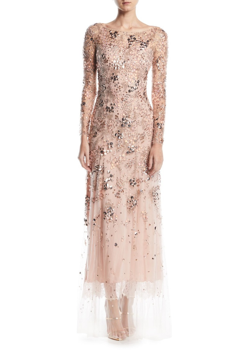 fe66f5ed89e Jenny Packham Comet Bateau-Neck Long-Sleeve Beaded Evening Gown w  Lace Trim