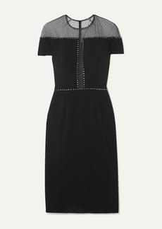 Jenny Packham Dora Studded Swiss-dot Mesh And Stretch-crepe Dress