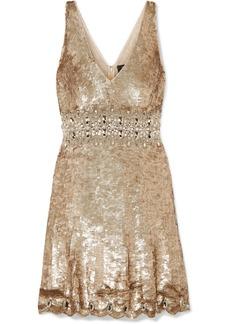 Jenny Packham Effie Embellished Sequined Tulle Mini Dress