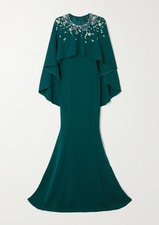 Jenny Packham Embellished Cape-effect Crepe Gown