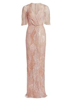 Jenny Packham Embellished Tulle V-Neck Column Gown