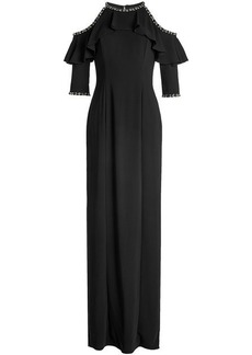 Jenny Packham Floor Length Gown with Cut-Out Shoulders and Embellishment