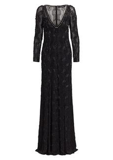 Jenny Packham Geometric Beaded V-Neck Gown