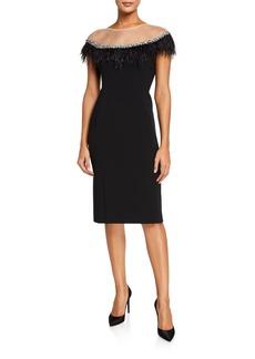 Jenny Packham Gizela Crepe Cap-Sleeve Dress