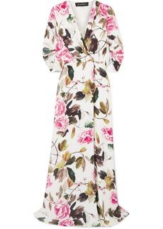Jenny Packham Harlow Floral-print Satin Robe