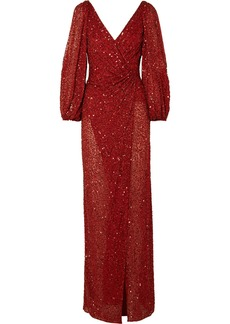 Jenny Packham Ida Gathered Embellished Georgette Gown